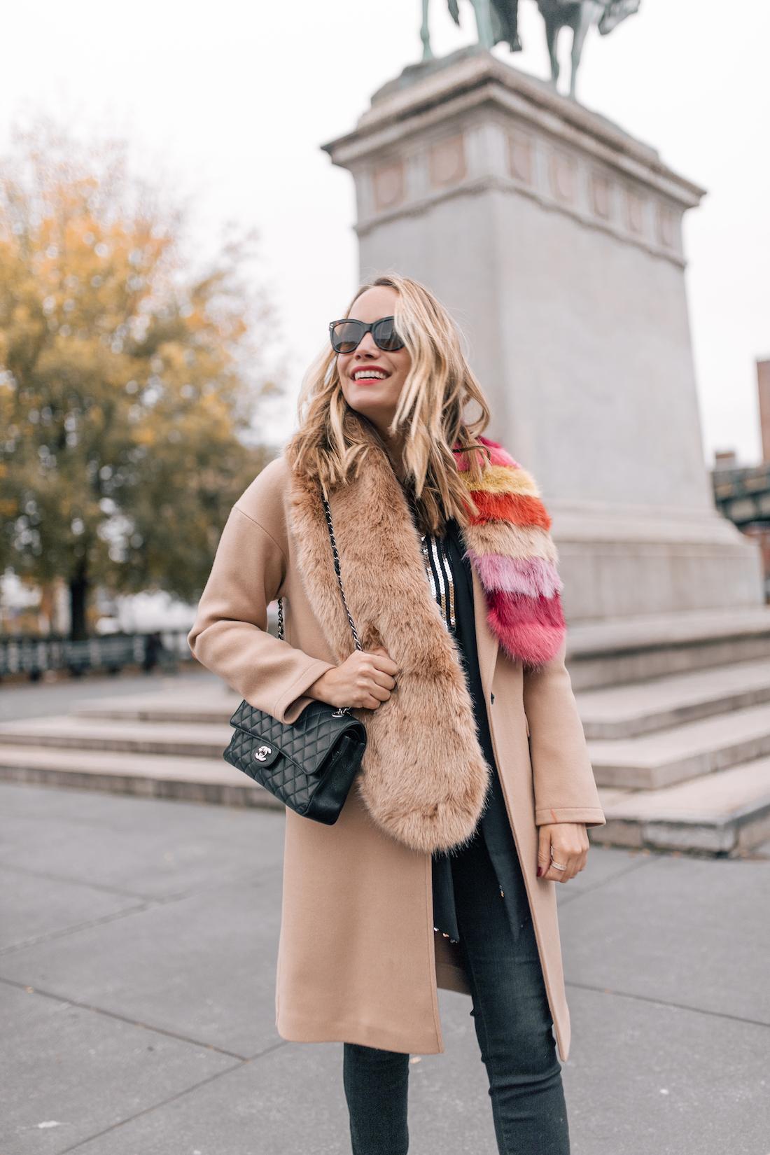 Outfit Details:Rixo London Sequin Top(size up!) //Paige Jeans //Topshop Coat(on sale!!) //Zara Faux Fur Scarf // Polaroid Sunglasses