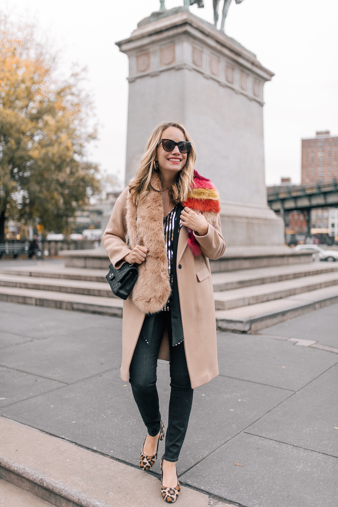 Outfit Details:Rixo London Sequin Top(size up!) //Paige Jeans //Topshop Coat(on sale!!) //Zara Faux Fur Scarf //Margaux Leopard Heels