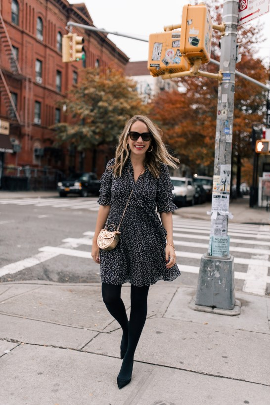 Outfit Details #1: Rebecca Taylor Dress //Manolo Blahnik Suede BB Pumps //Okhtein Bag //Polaroid Sunglasses
