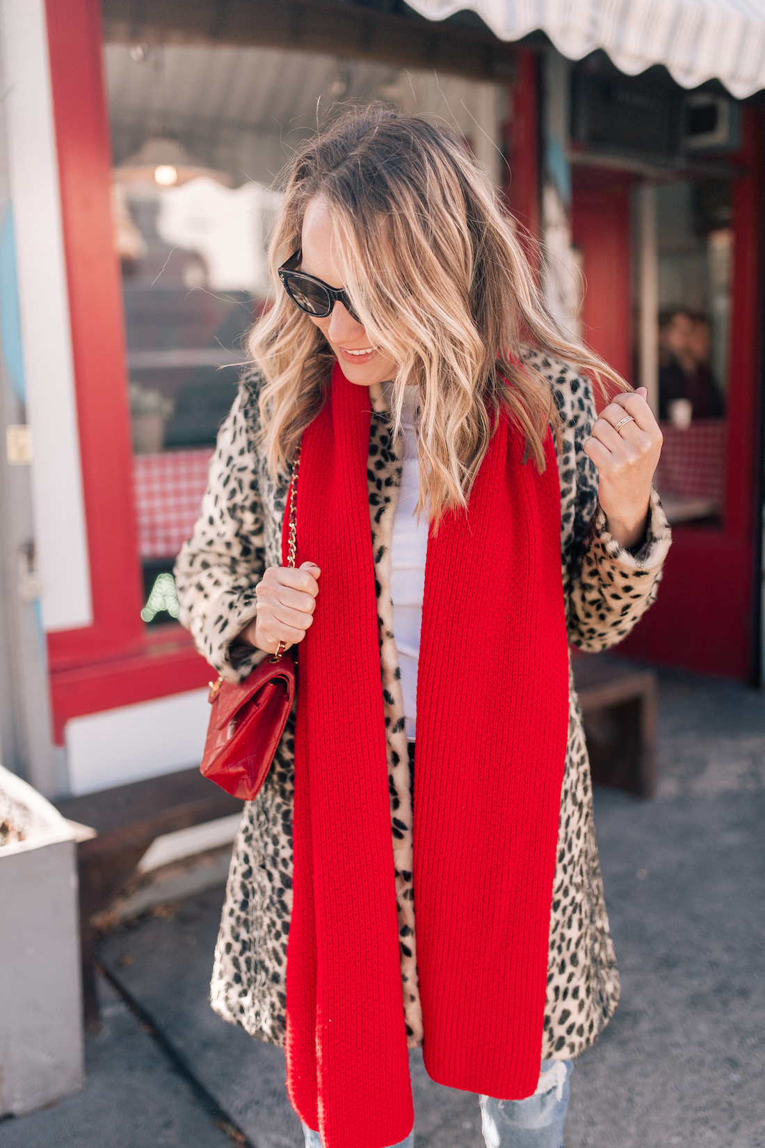 J. McLaughlin Leopard Coat  // Aether Scarf // x Karla Tee