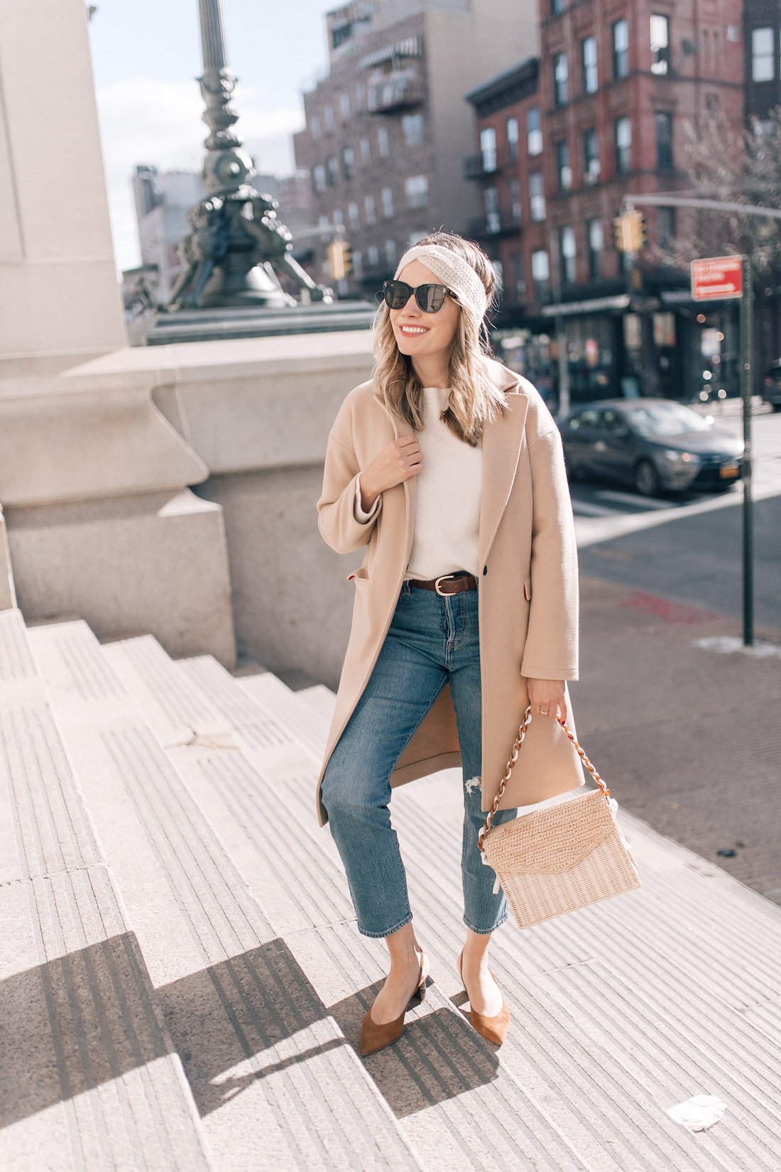 Outfit Details:Topshop Coat(exact) // Eileen Fisher Sweater(c/o) // Eileen Fisher Headband (c/o)// Levi's Jeans // Polaroid Sunglasses // Pamela Munson Bag (c/o) // Sarah Flint Heels // J.Crew Belt