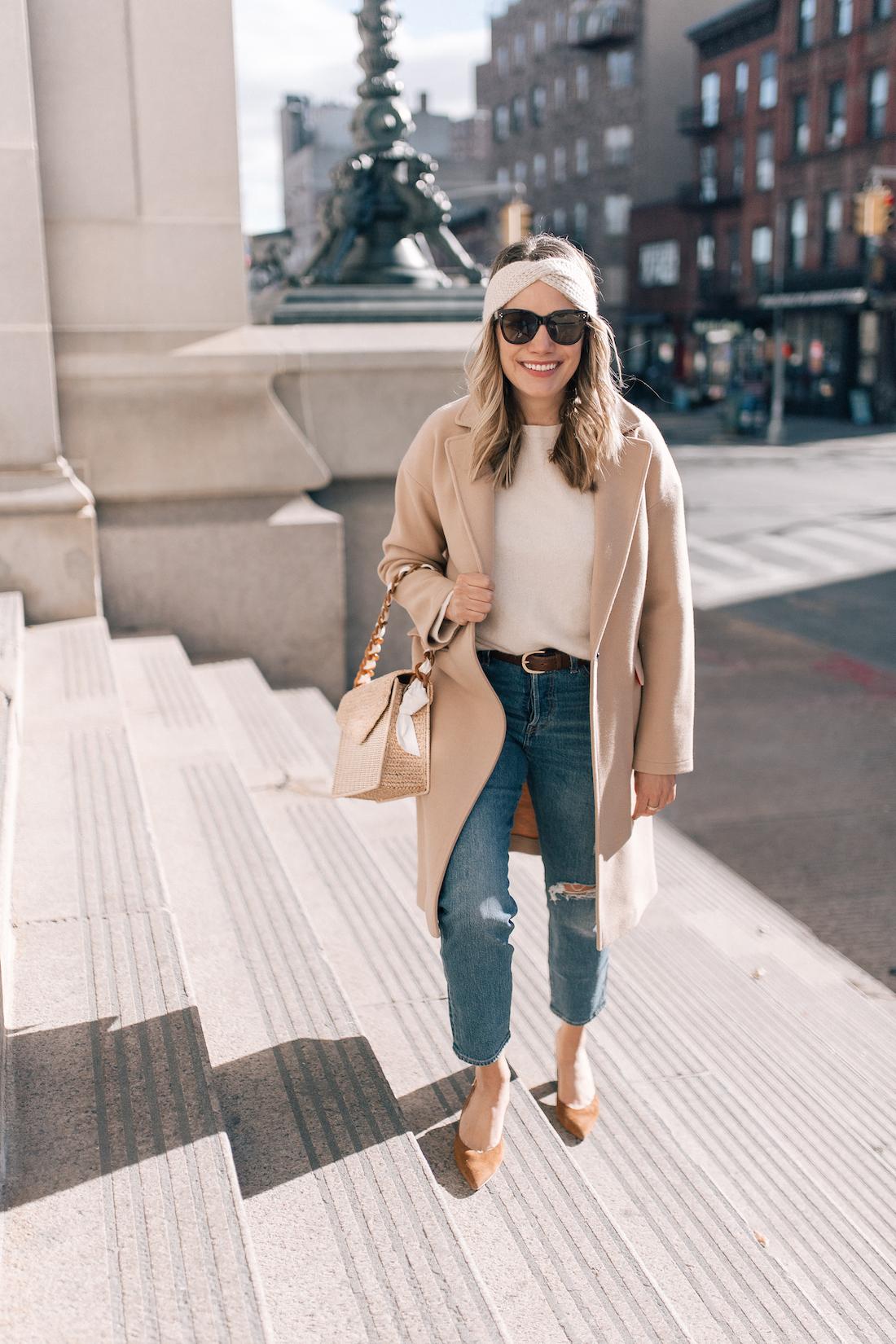 Grace Atwood Outfit Details:Topshop Coat(exact) // Eileen Fisher Sweater(c/o) // Eileen Fisher Headband (c/o)// Levi's Jeans // Polaroid Sunglasses // Pamela Munson Bag (c/o) // Sarah Flint Heels // J.Crew Belt