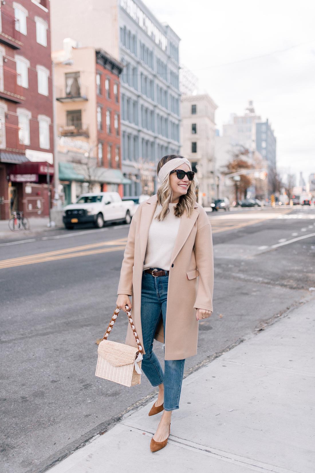 Grace Outfit:Topshop Coat(exact) // Eileen Fisher Sweater(c/o) // Eileen Fisher Headband (c/o)// Levi's Jeans // Polaroid Sunglasses // Pamela Munson Bag (c/o) // Sarah Flint Heels // J.Crew Belt