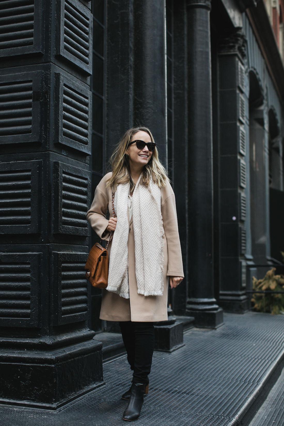 Outfit Details:Topshop Coat // Target Scarf // Topshop Satin PJ Shirt // Paige Jeans // Chanel Tan Maxi Bag // Soludos Boots