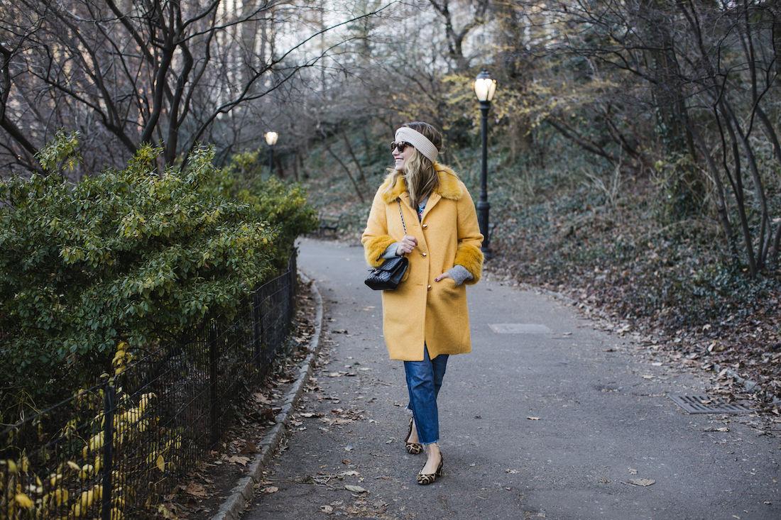 Outfit Details:Kate Spade Coat // Zara Sweater // Re/Done Denim // Margaux Heels // Eileen Fisher Headband // Chanel Bag // Polaroid Sunglasses
