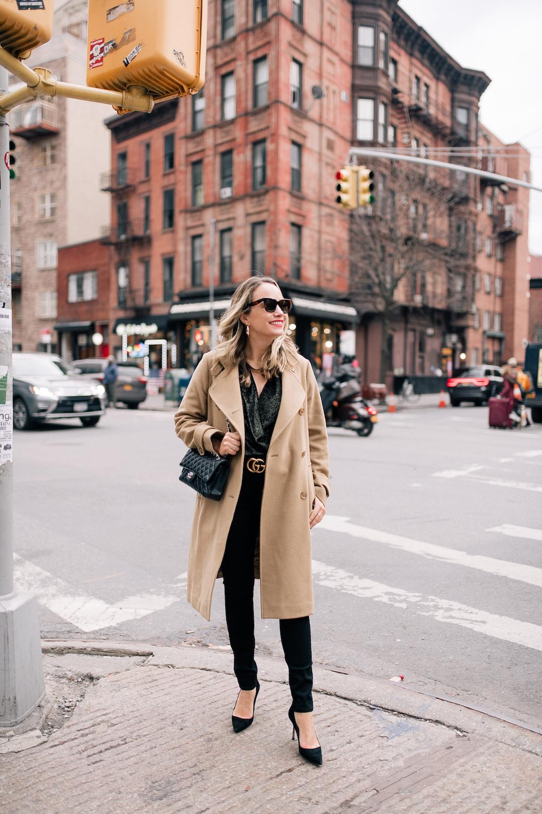 Camel Coat - Black outfit & gucci belt and chanel bag