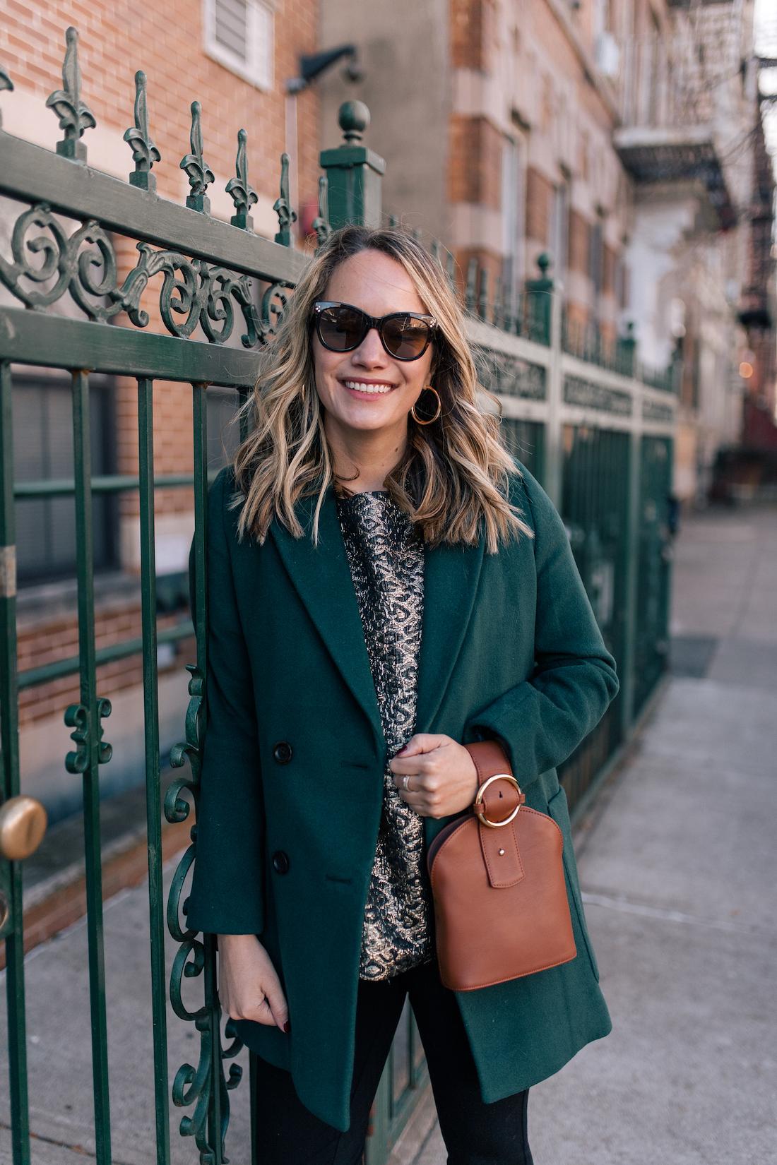 Outfit Details:Madewell Coat // Tuckernuck Top(c/o) // NYDJ Leggings // Polaroid Sunglasses // Parisa Wang Bag(c/o)