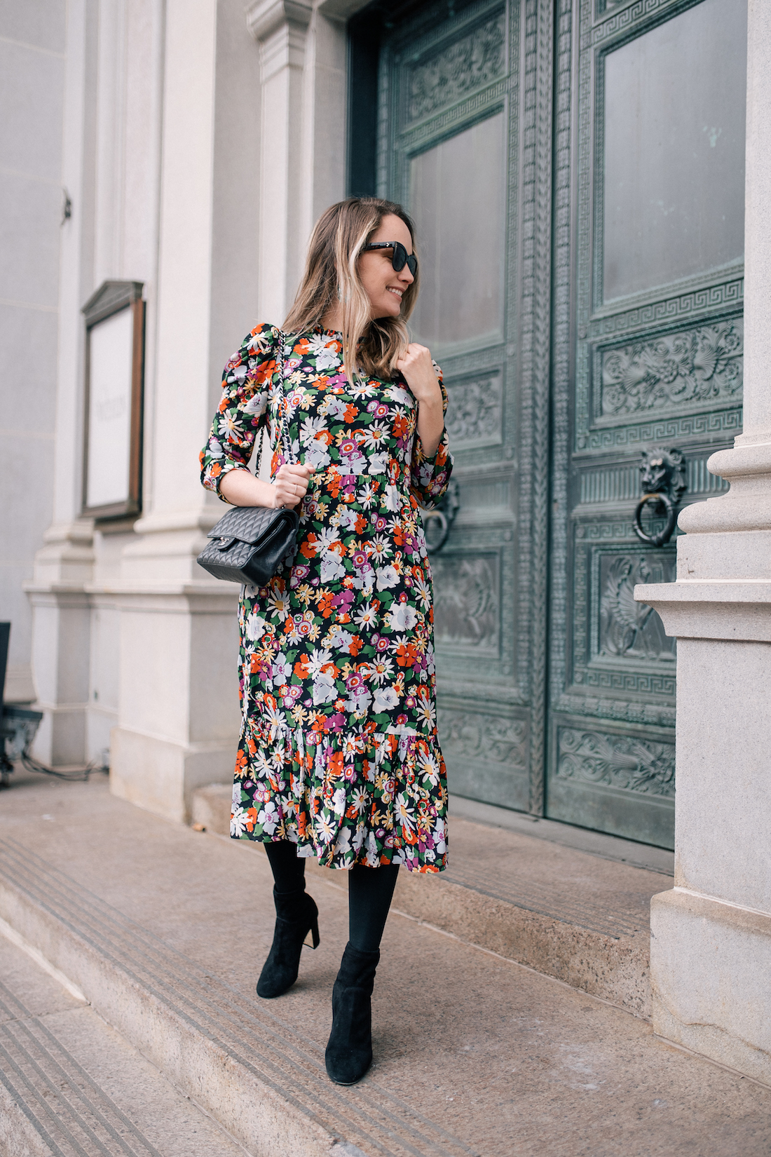 Outfit Details: L. K. Bennett Dress (gifted) // Express Tights// Marion Parke Boots // Chanel Bag // Polaroid Sunglasses