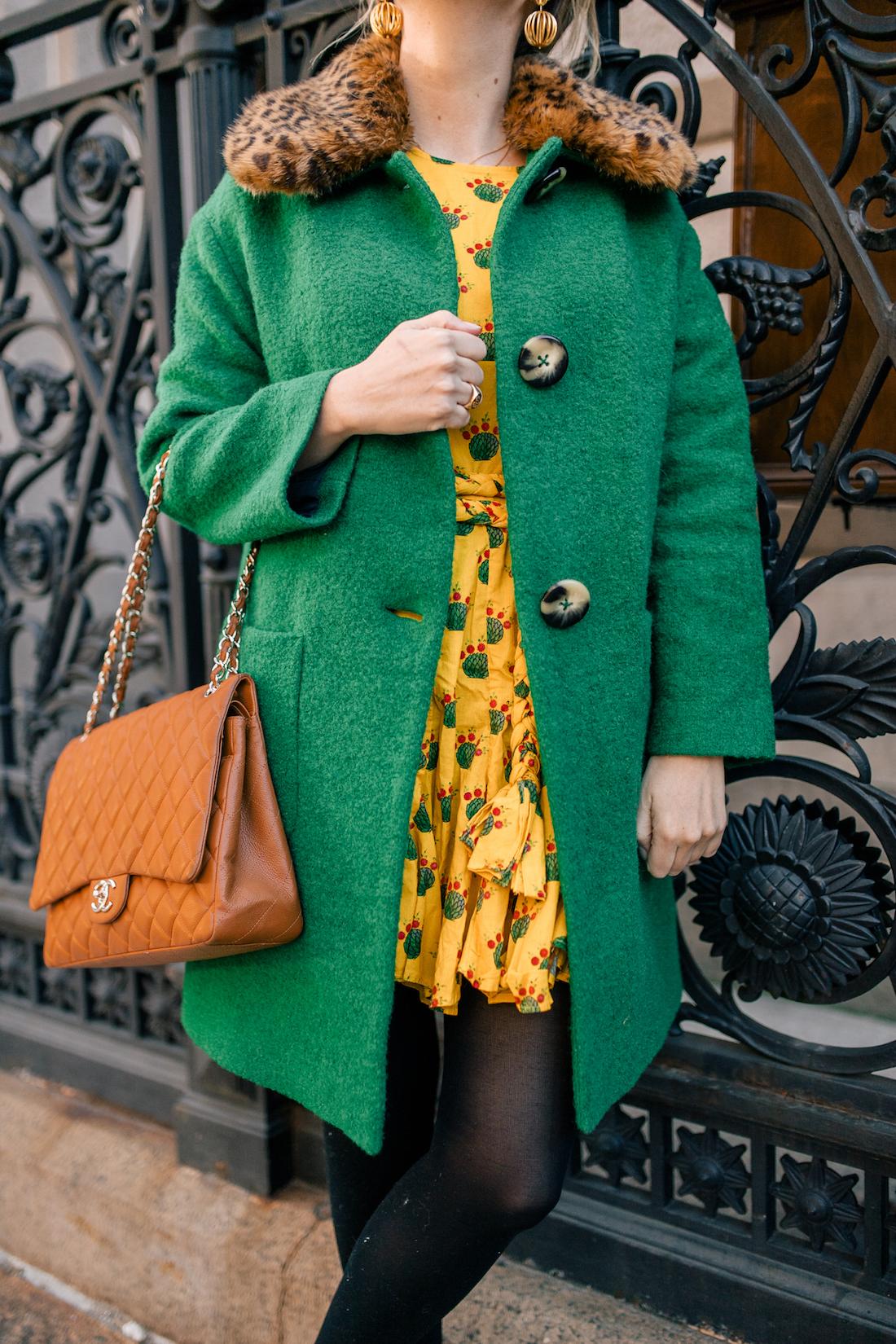 Grace Atwood's Outfit Details: L.K. Bennett Coat // Rhode Resort Ella Dress // Express Tights // Manolo Blahnik Pumps // Chanel Purse // Tuckernuck Earrings