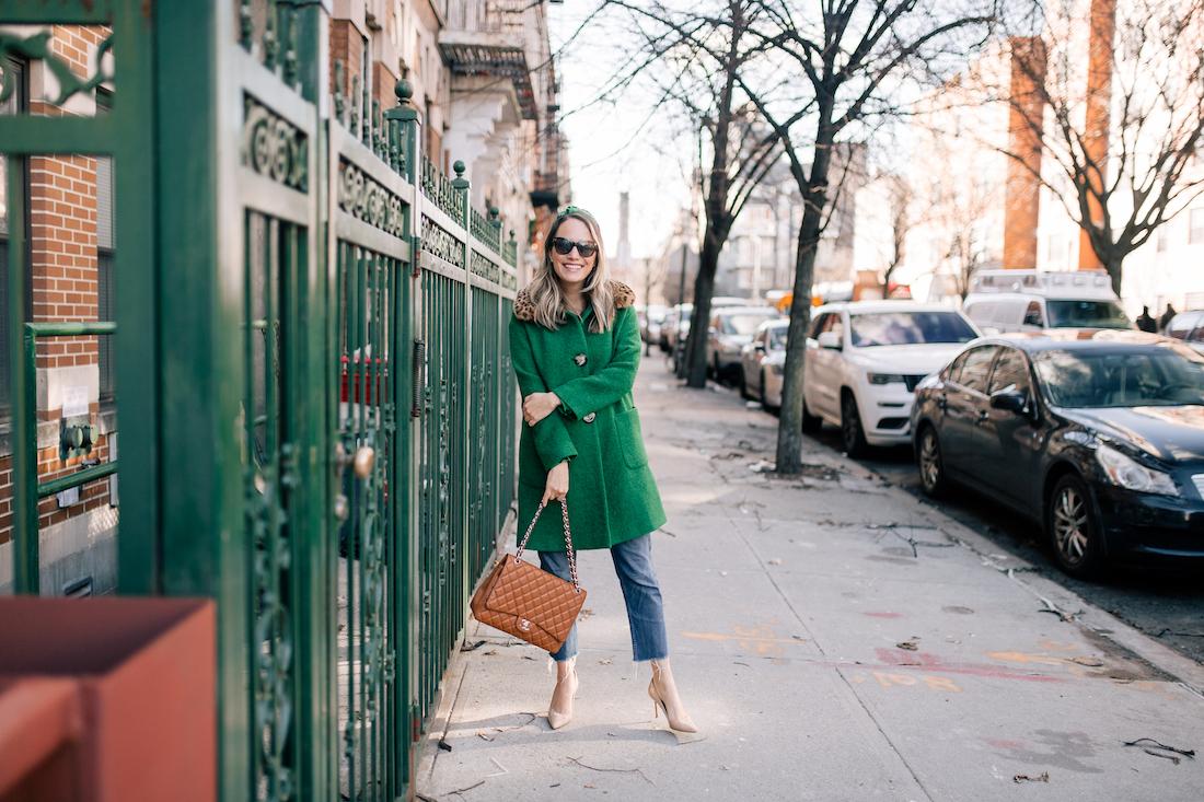 Outfit Details: L.K. Bennett Coat// Tanya Taylor Headband // Re/Done Jeans // J.Crew Belt // Estee LaLonde x Daisy Jewellery Necklaces // Manolo Blahnik Pumps // Chanel Purse // Polaroid Sunglasses