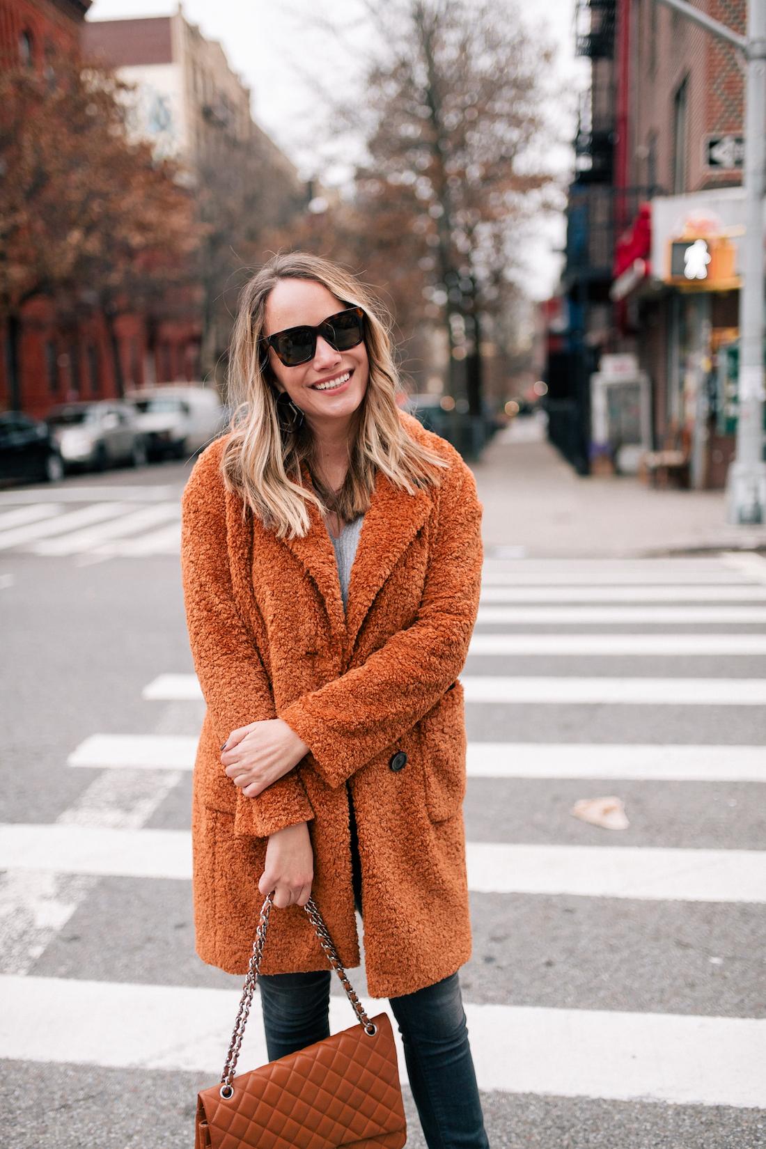 Outfit Details:Atlantic-Pacific x Halogen Teddy Coat // ASOS Sweater // Paige Jeans // Celine Sunglasses // Rachel Comey Factor Earrings