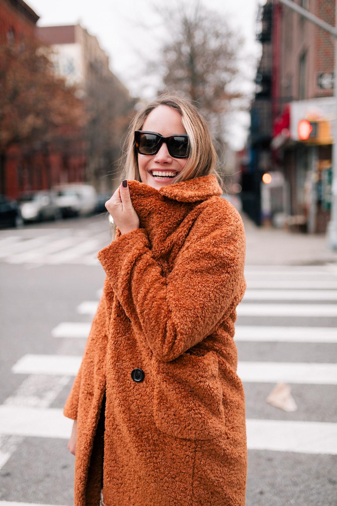 Outfit Details:Atlantic-Pacific x Halogen Teddy Coat // Celine Sunglasses