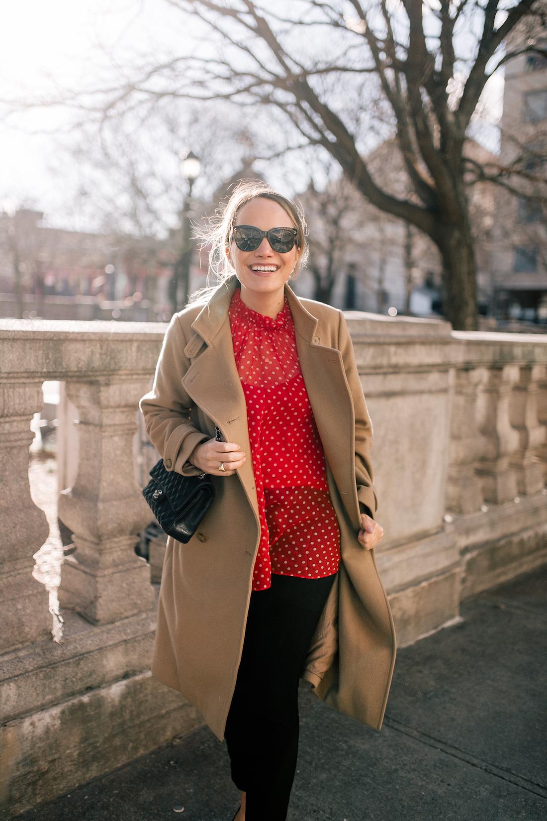 Outfit Details: Vince Camel Coat // Zimmermann Polka Dot Top // NYDJ Pants // Black Chanel Quilted Bag