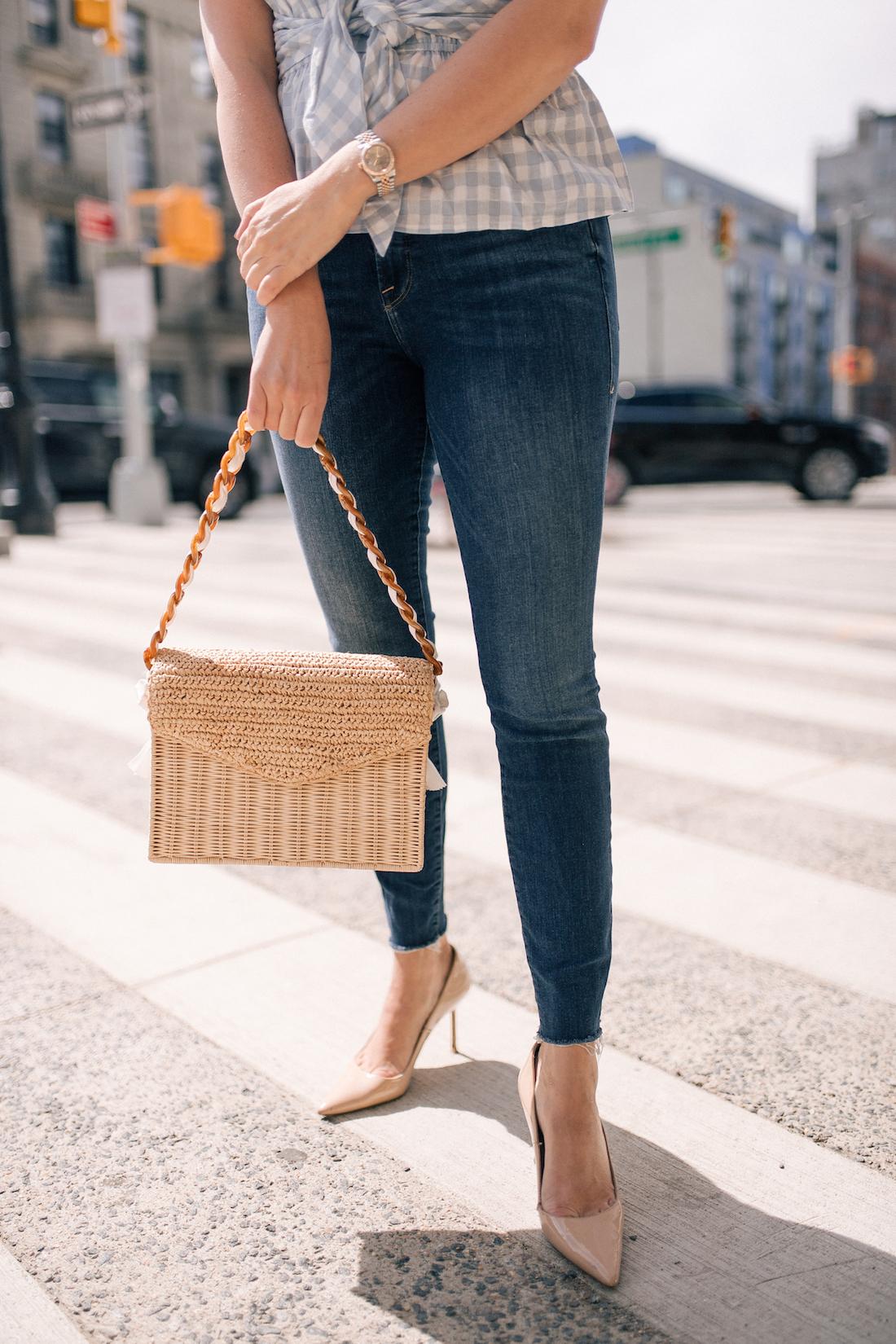 Grace Atwood's Outfit Details: Good American Jeans // Manolo Blahnik Pumps // Pamela Munson Bag