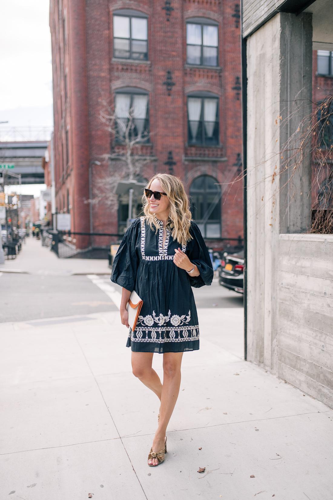 Grace Atwood's outfit:Figue Dress // Loeffler Randall Heels // Mansur Gavriel Clutch // Celine Sunglasses
