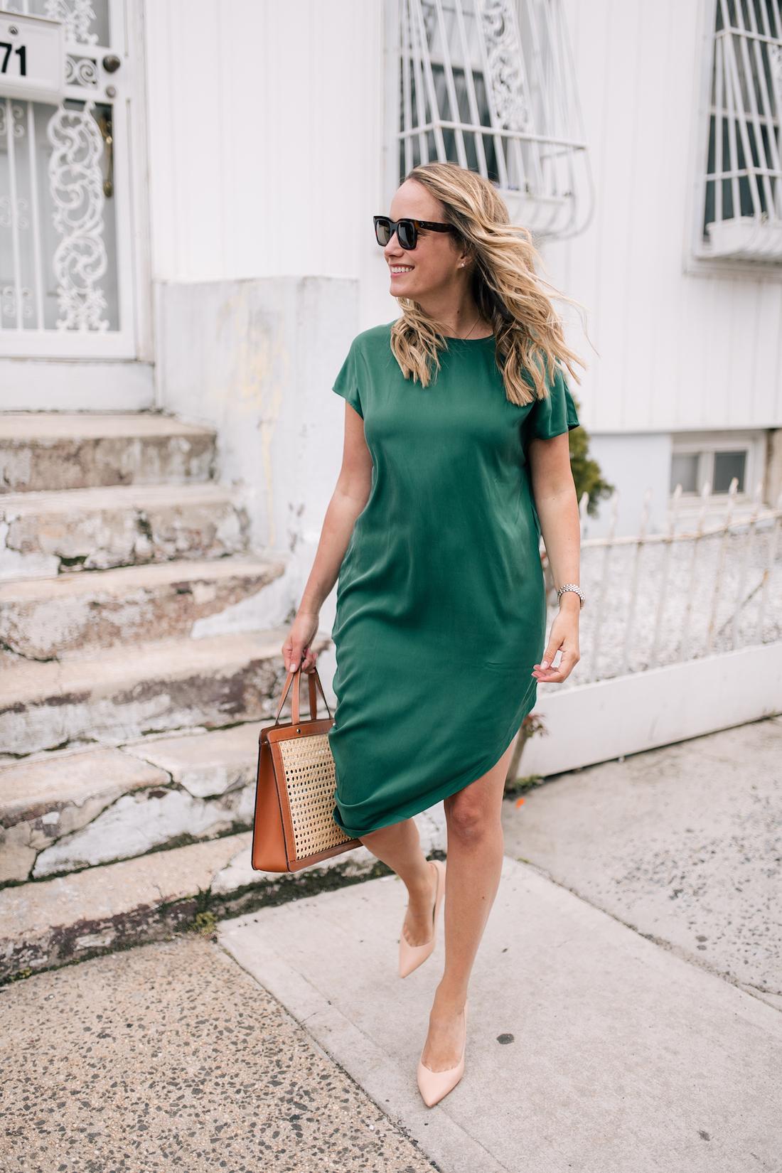 Grace is wearing a Green Universal Standard Dress