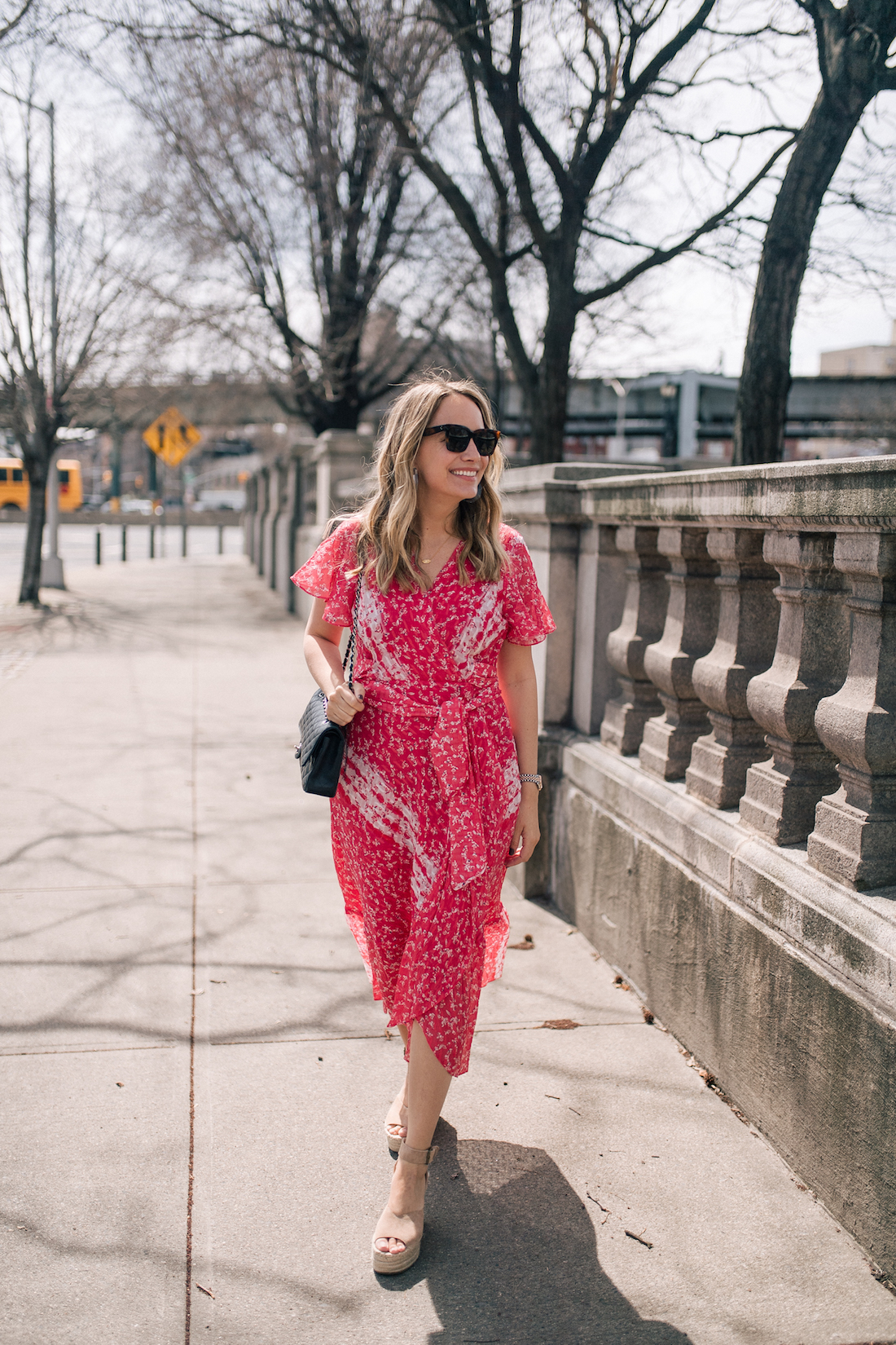 Grace Atwood's Outfit Details:gifted Tanya Taylor dress // gifted Soludos Positano Wedges // Celine Sunglasses (my exact pair) // Chanel Purse