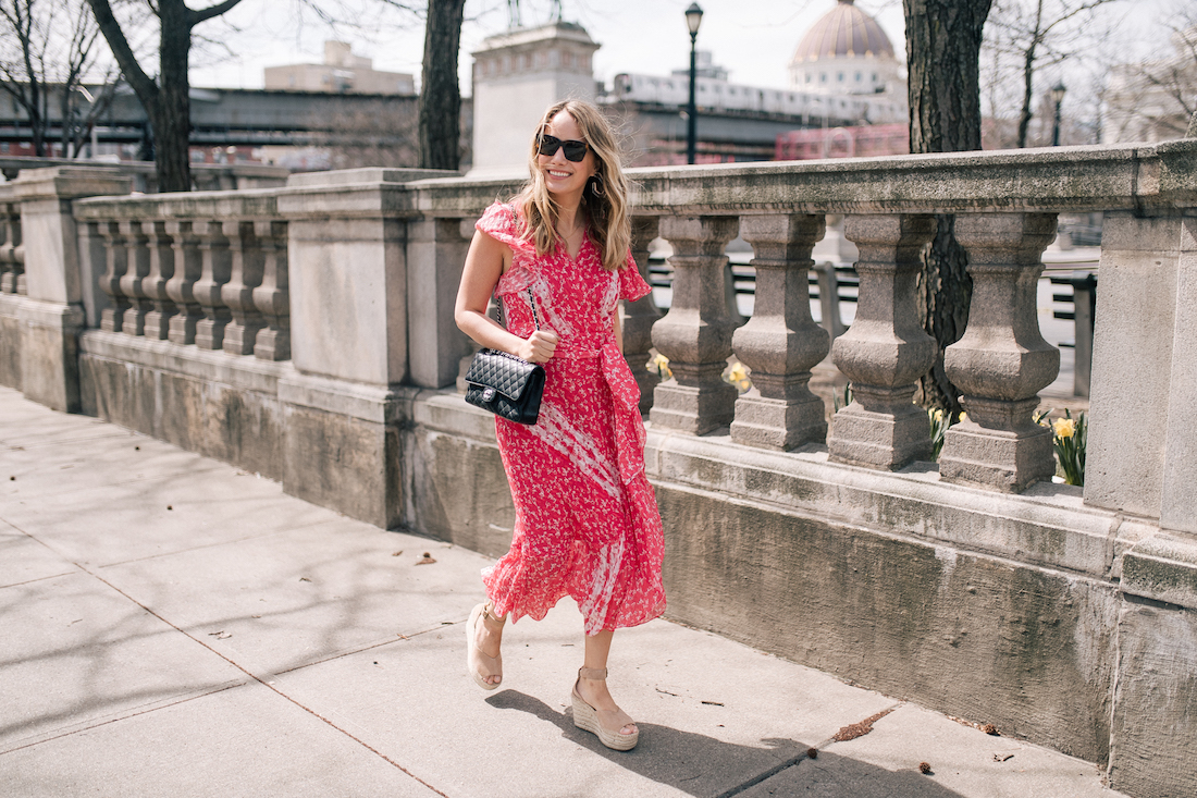 Grace Atwood's Outfit Details:gifted Tanya Taylor dress // gifted Soludos Positano Wedges // Celine Sunglasses // Chanel Purse