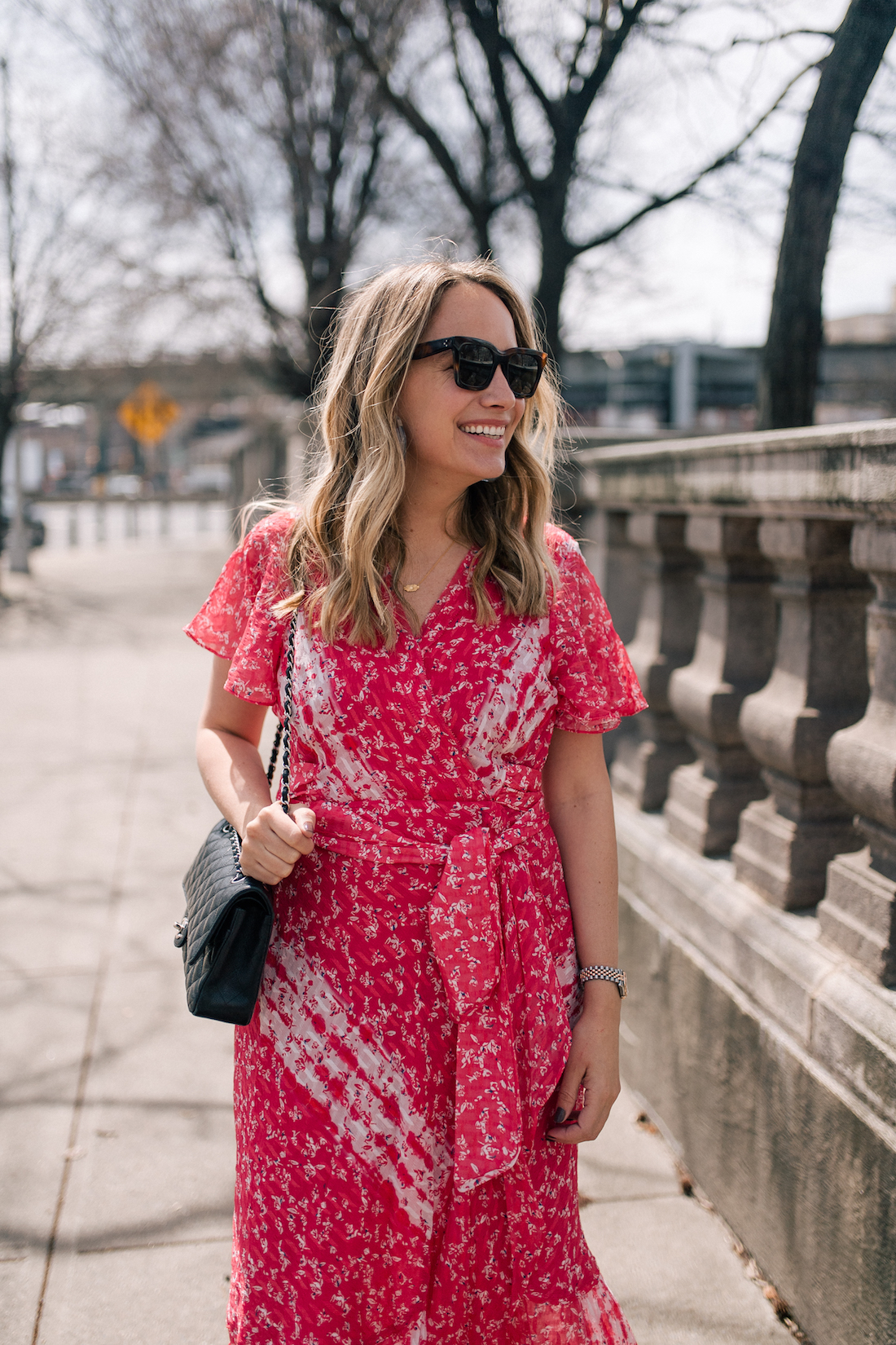Grace Atwood's Outfit Details:gifted Tanya Taylor dress // Celine Sunglasses (my exact pair) // Chanel Purse