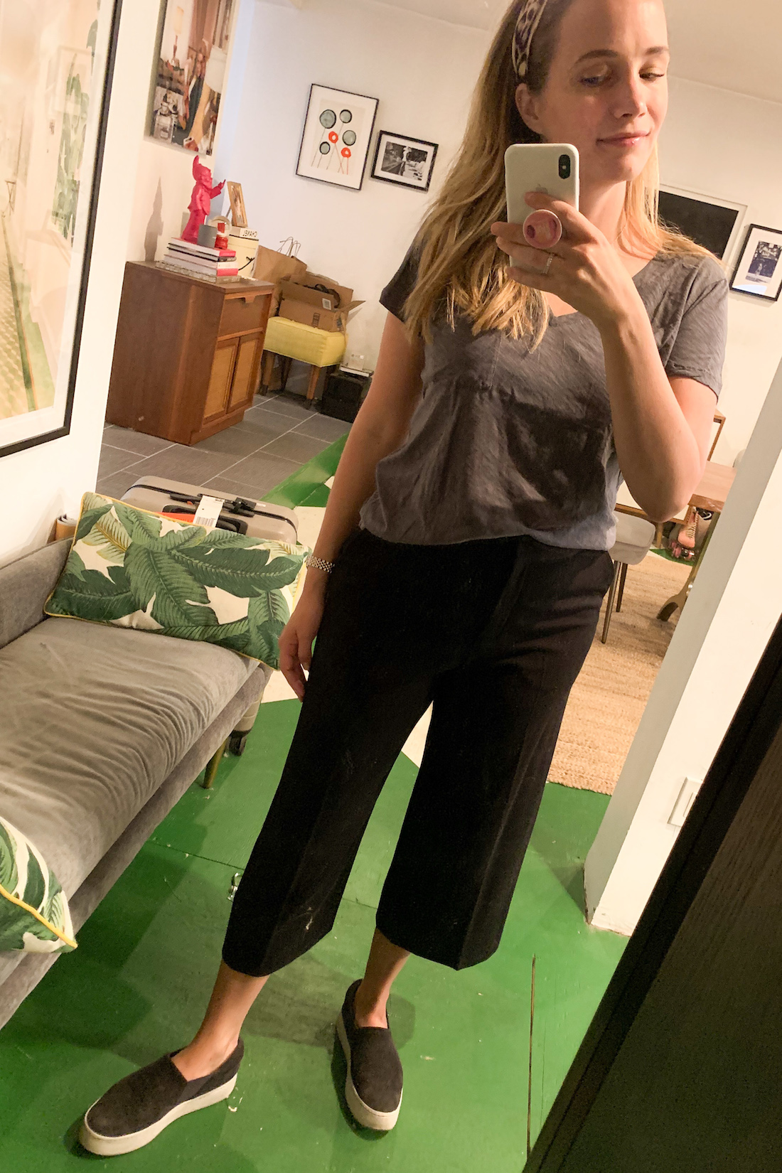 what I wore: BaubleBar Headband // Madewell Tee // MM La Fleur Cropped Pants // Vince Warren Sneakers