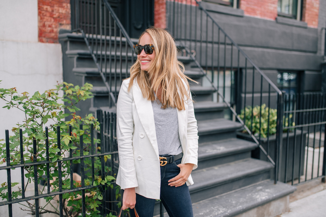 Outfit Details: White Blazer  // Madewell Tee // Paige Jeans // Gucci Belt // Palmgrens Bag // Celine Sunglasses // Estee Lalonde x Daisy Jewellery Necklace