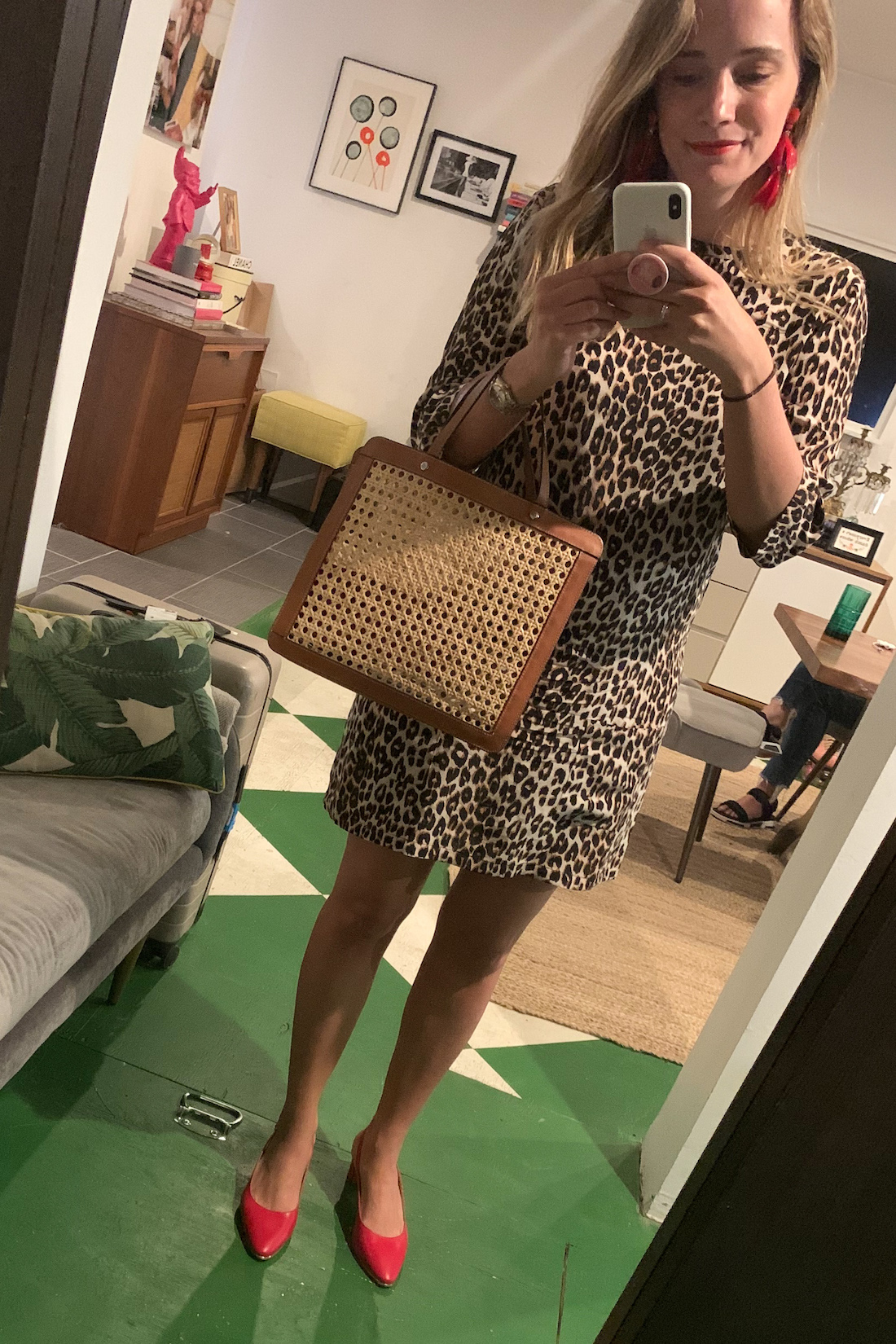 Outfit details: Equipment Dress // Talbots Heels // Tuckernuck Earrings // Palmgrens Rattan Bag