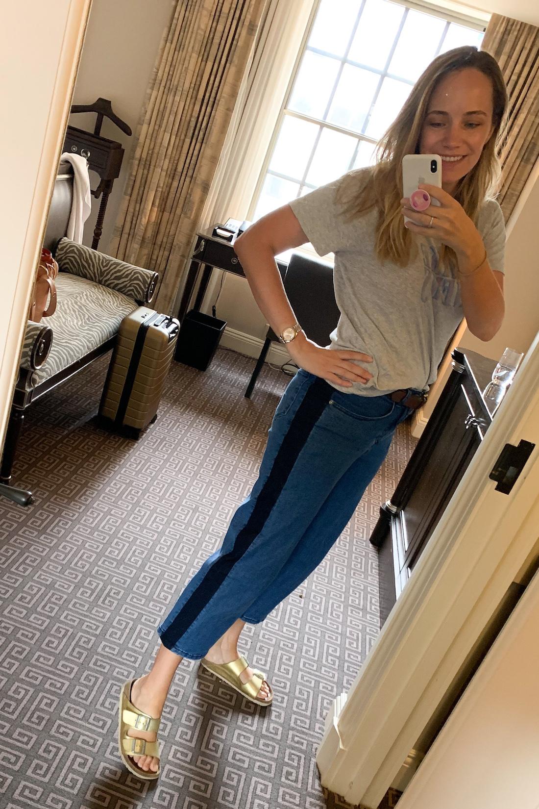 what I wore: IRO Fake News Tee // Universal Standard Side Stripe Jeans // J.Crew Belt (super old) // Gold Birkenstocks