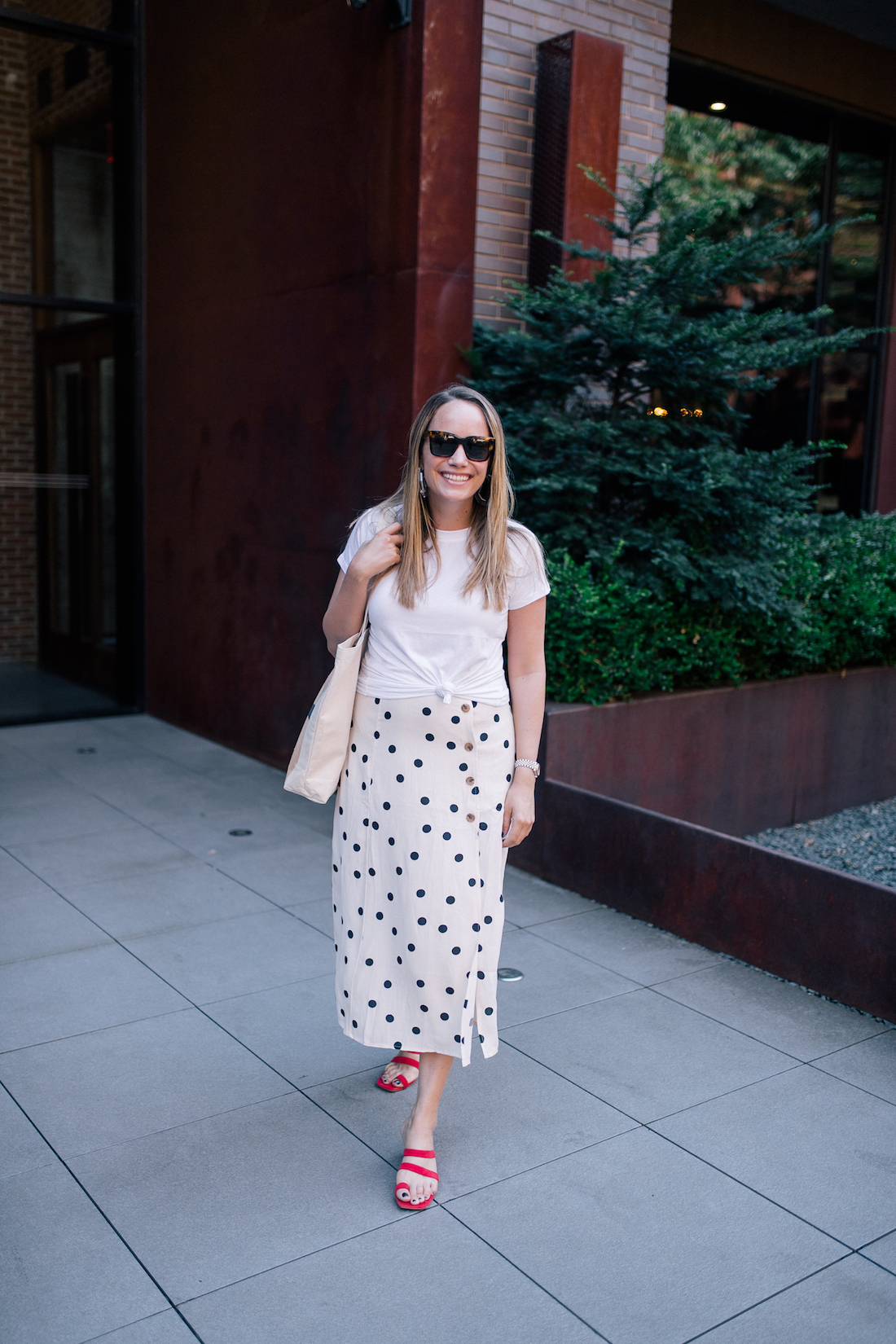 Outfit Details: White T-shirt // Polka Dot Skirt // Red Heels