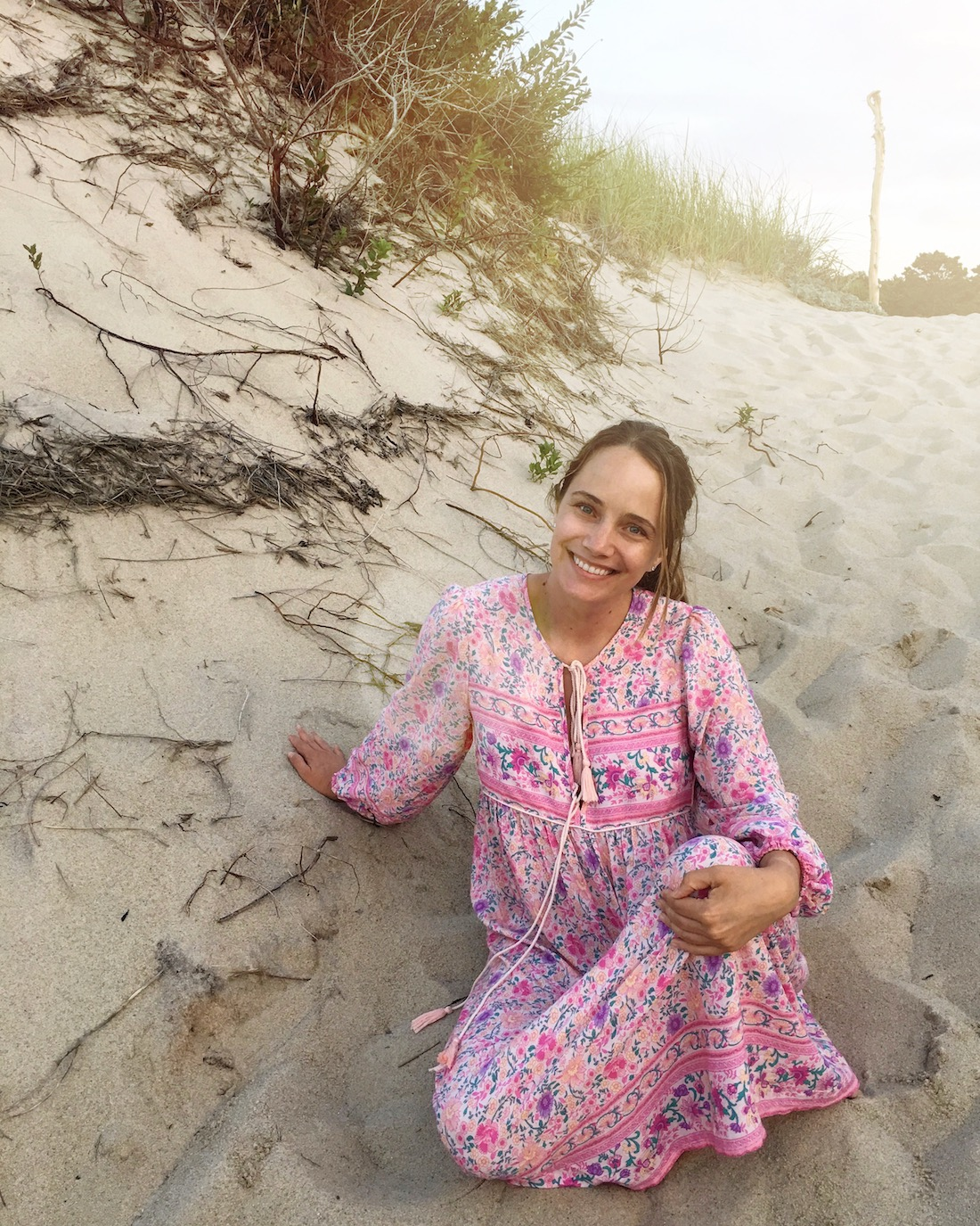 Grace in her nightgown at the beach