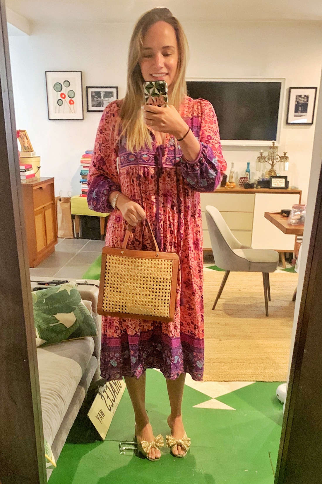 what i actualy wore includes this dress and bag