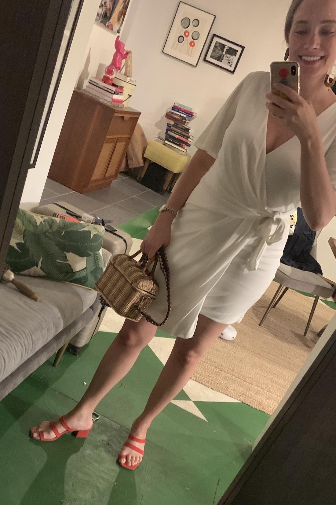 I wore a white wrap dress