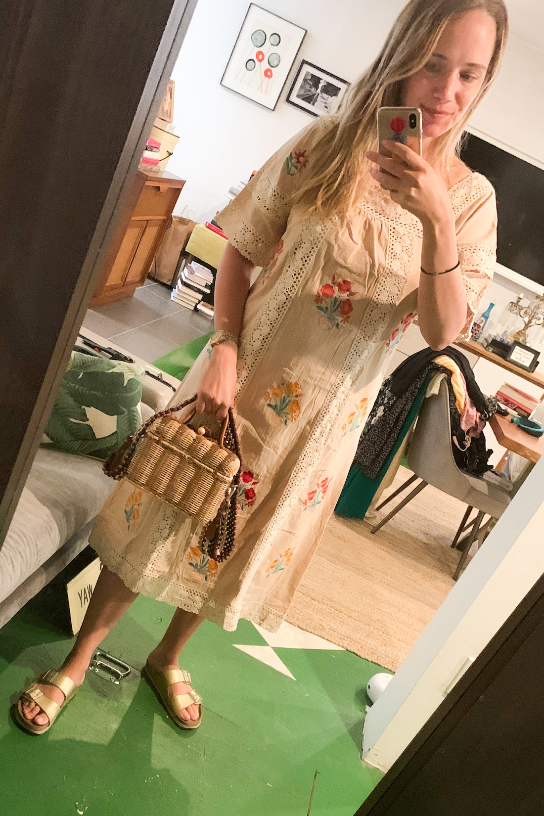 Amazon dress // Ulla Johnson Purse // Birkenstocks // BaubleBar iPhone Case