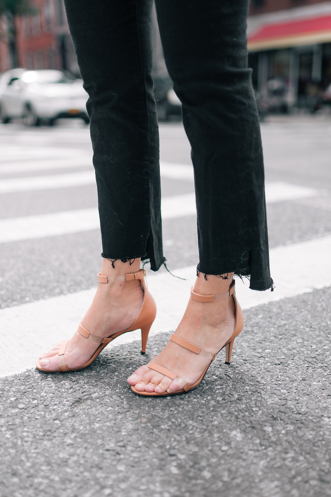 pants and nude sandals