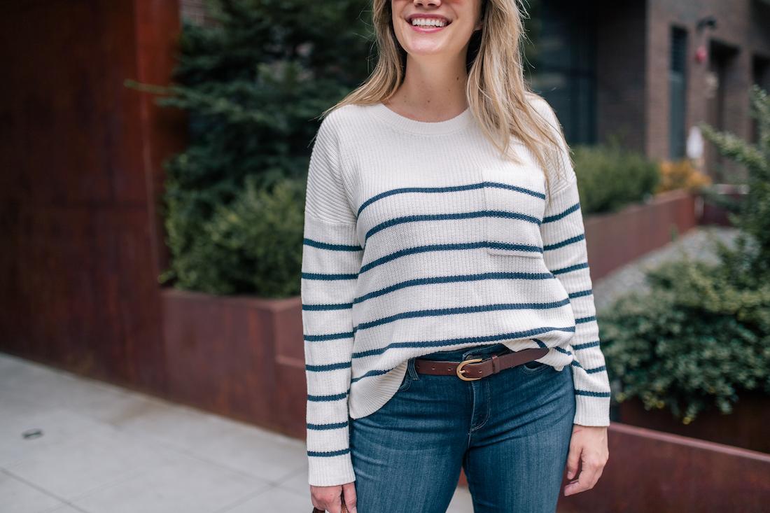 sweater and denim combo