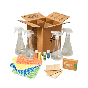 Truman Cleaning Kit with cartridges of cleaners, sponges, and towels