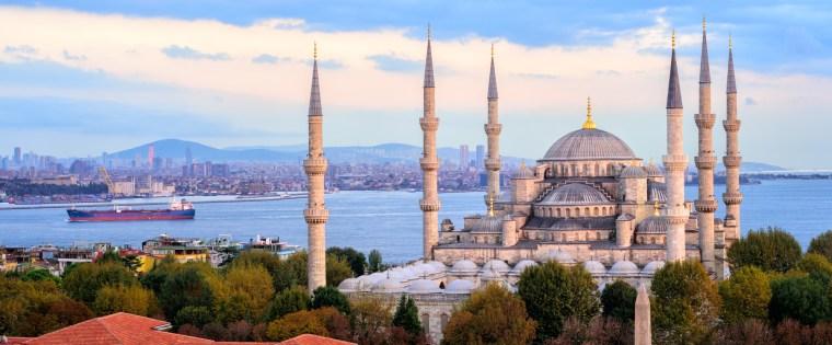 Blue Mosque and Bosporus panorama, Istanbul, Turkey