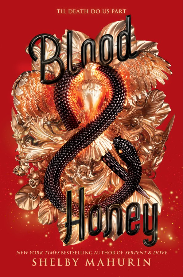 This is the book cover of Blood and Honey. The book itself is red with golld masks and a black snake, the book title is in black.