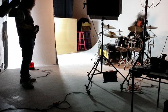 Music Video shoot drummers wild hair