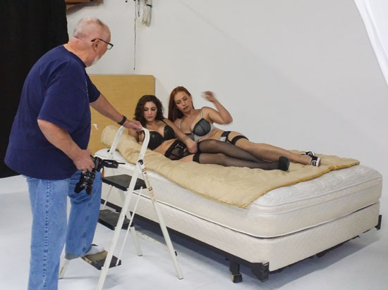 Glamour models in photography rental studio
