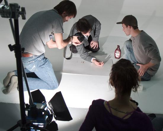 American Spirit shoots scence at Phoenix Video Rental Studio with fake blood