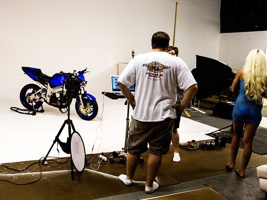 Motorcycle photo shoot at studio in phoenix