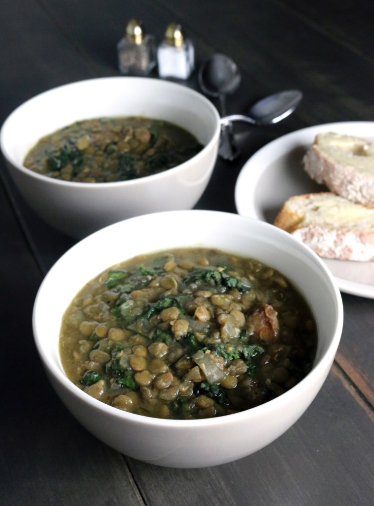 Crockpot Sausage, Lentils & Kale
