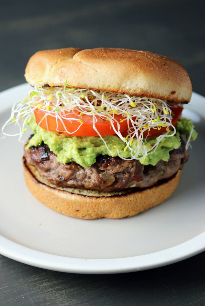 Mashed Avocado and Bacon Burger
