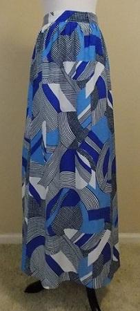 ofcorsetsvintage 1970s Blue Graphic Pop Art Print Maxi Skirt, $12, etsy.com