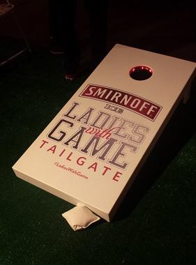 The cornhole game was pretty popular.