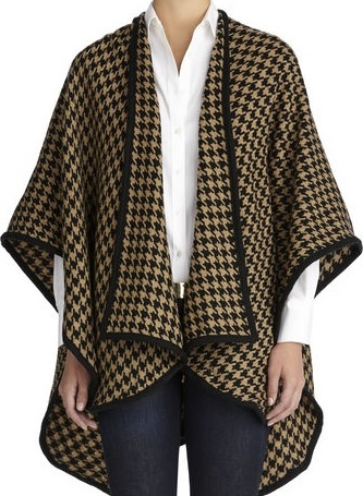 Jones New York Houndstooth Cape, $69, jny.com