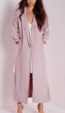 Side Split Maxi Duster Coat, $70, missguidedus.com