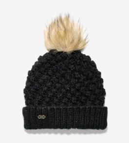 Popcorn Stitch Faux Fur Pom Hat, $52, colehaan.com
