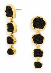 Midnight Druzy Drop Earrings, $36, baublebar.com