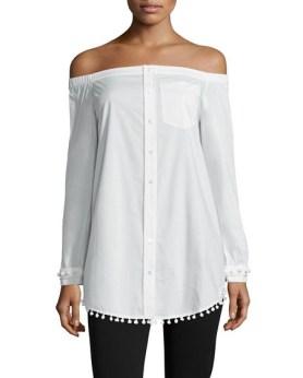 10 Crosby Derek Lam Long-Sleeve Poplin Off-the-Shoulder Shirtdress, $146.25, neimanmarcus.com